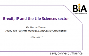 Dr Martin Turner UK BioIndustry Association presentation image